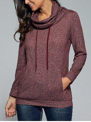 Cowl Neck Heather Drawstring Sweatshirt