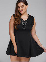V Neck Fit and Flare Babydoll Mini Dress - BLACK 4XL