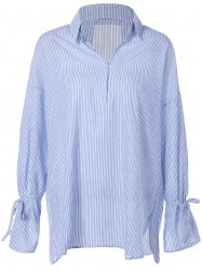 Flare Sleeve Striped Loose Blouse -