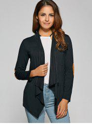 Asymmetric Patched Short Cardigan - BLACK