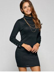 Belted High Neck Long Sleeve Bodycon Dress - BLACK