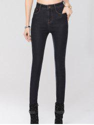 Stretchy Thickening Pencil Jeans - BLACK