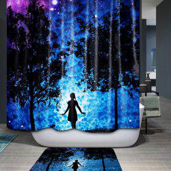 3D Mysterious Night Printed Waterproof Polyester Shower Curtain -