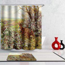 180*180 Deer Printed Waterproof Polyester Bathroom Shower Curtain