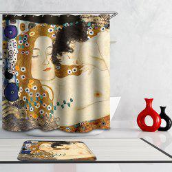 Bath Decor Mother Love Design Waterproof Polyester Shower Curtain -