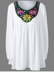 Plus Size Bead and Embroidery Blouse - WHITE XL