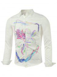 Long Sleeve Wash Painting Printed Shirt -