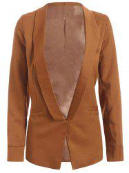 Shawl Collar Pocket Design Plain Blazer - CAMEL