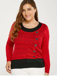 Color Block boutonné Plus Size Sweater - Rouge