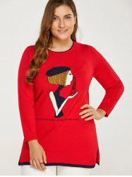 Side Slit Plus Size Sweater - Rouge
