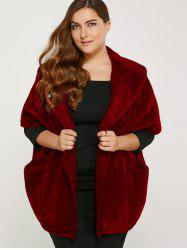 Plus Size Knitted Cardigan with Pocket -