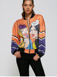 Printed Loose Bomber Jacket - ORANGE