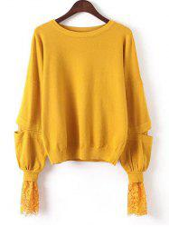 Lace Patchwork Puff Sleeves Knitwear - YOLK YELLOW