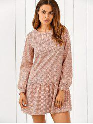 Printed Ruffle Hem Long Sleeve Dress - COLORMIX XL