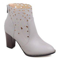 Cut Out Chunky Heel Ankle Boots - LIGHT GRAY