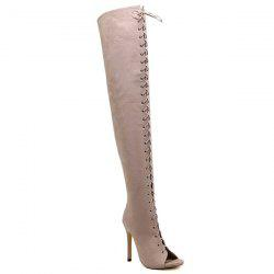 Stiletto Heel Lace-Up Peep Toe Thigh Boots