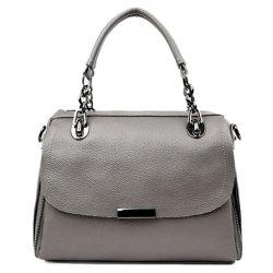 Chain Textured PU Leather Handbag