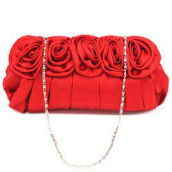 Satin Flowers Pleated Evening Bag - RED
