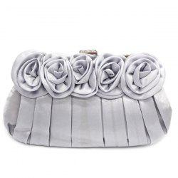 Satin Flowers Pleated Evening Bag