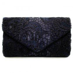 Envelope Lace Evening Bag - BLACK
