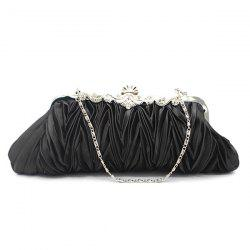 Metal Trimmed Pleated Satin Evening Bag - BLACK
