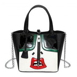 Chains Lock Lip Pattern Funny Handbag - WHITE