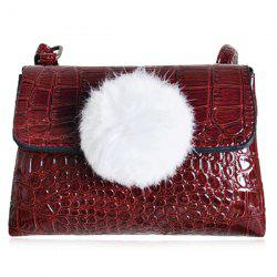 Pompon Crocodile Embossing Crossbody Bag -