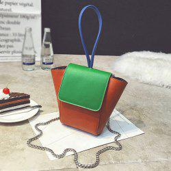 Chains Color Block PU Leather Crossbody Bag -