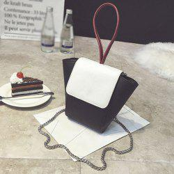 Chains Color Block PU Leather Crossbody Bag