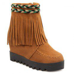 Increased Internal Weaving Fringe Ankle Boots