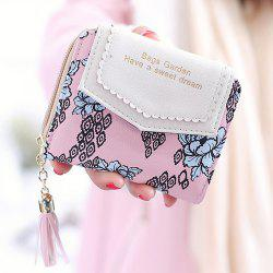 Floral Print Tassels Small Wallet - PINK