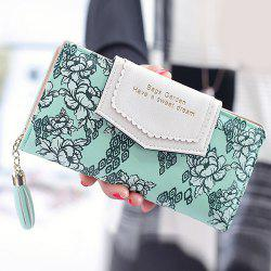 Flower Print Tassels Clutch Wallet - GREEN