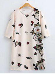 Flower Print Loose-Fitting Shift Dress -