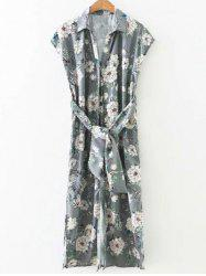 Side Slit Blossom Floral Button Up Longline Shirt Dress -