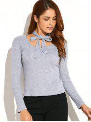 Ribbed Neck Tie Knitwear