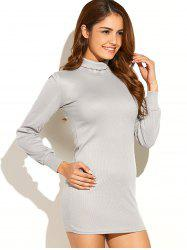 Turtleneck Ribbed Roll Neck Jumper Dress - LIGHT GRAY