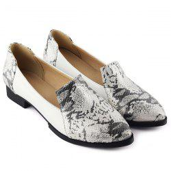 PU Leather Embossing Colour Block Flat Shoes -