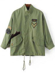 Patched Drawstring Military Jacket -