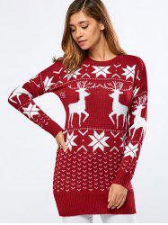 Long Printed Fuzzy Sweater - RED