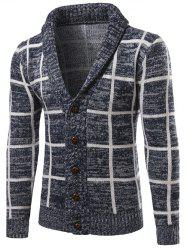 Turn-Down Collar Single-Breasted Checked Cardigan