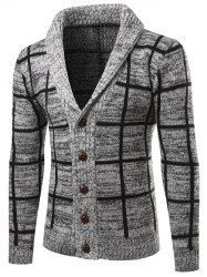 Turn-Down Collar Single-Breasted Checked Cardigan - GRAY