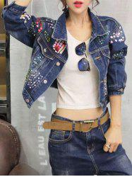 Sequined Personality Cropped Thin Jean Jacket