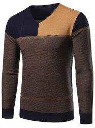 V-Neck Color Block Splicing Sweater - CADETBLUE 2XL