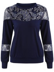 Loose Embroidered Lace Spliced Tee