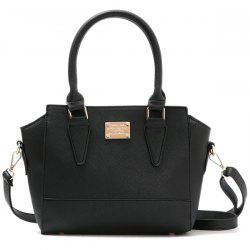 Metallic Zip PU Leather Tote Bag - BLACK
