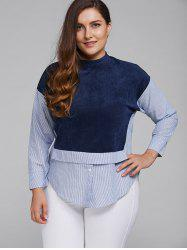 Plus Size  Pinstripe Color Block Shirt