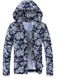 Hooded Rose Print Zip-Up Cotton-Padded Jacket - BLUE 3XL