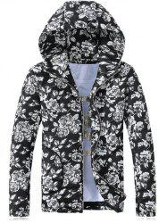 Hooded Rose Print Zip-Up Cotton-Padded Jacket - BLACK