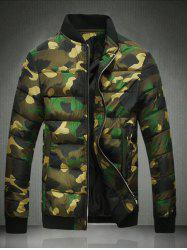 Stand Collar Plus Size Camouflage Zip-Up Cotton-Padded Jacket