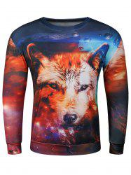 3D Wolf Starry Sky Print Long Sleeve Crew Neck Wolf Hoodie - COLORMIX 2XL